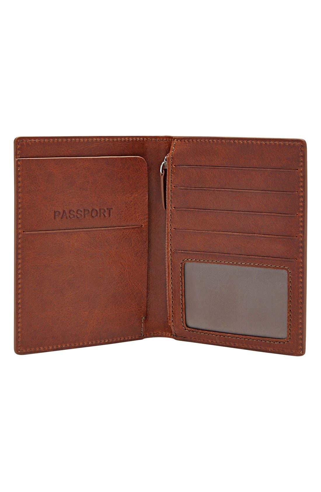 Leather Passport Case,                             Alternate thumbnail 2, color,                             Cognac