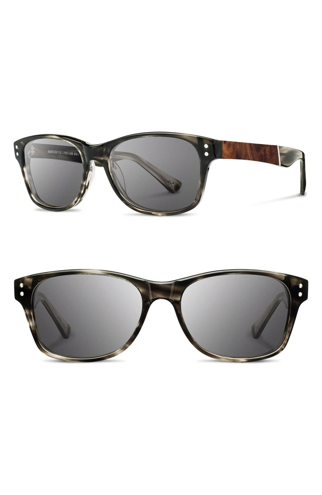 Shwood 'Cannon' 54mm Polarized Acetate & Wood Sunglasses