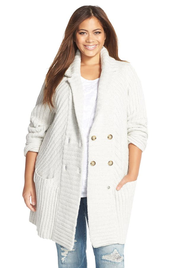 Lucky Brand Ribbed Sweater Coat (Plus Size) | Nordstrom