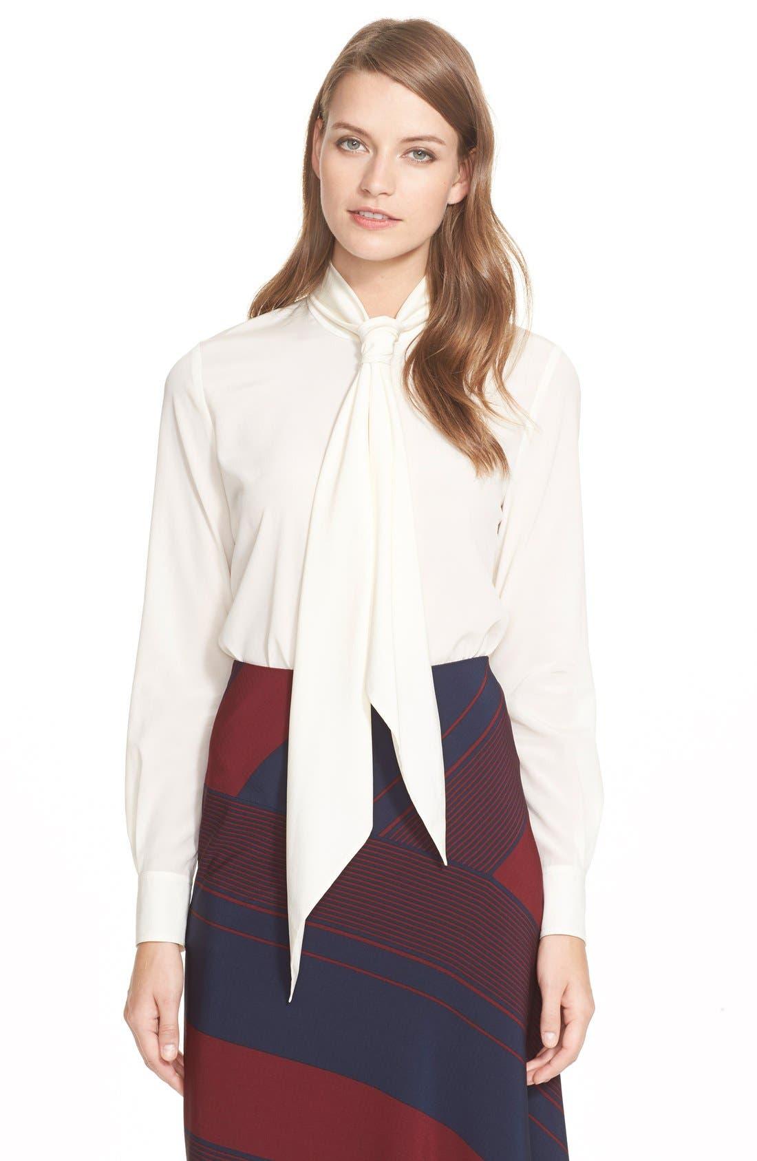 burch tie neck stretch silk blouse nordstrom