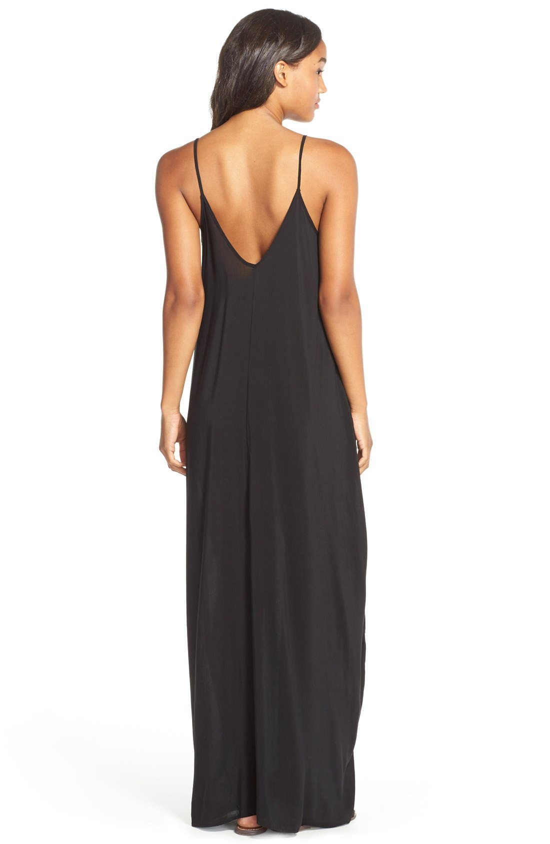 V-Back Cover-Up Maxi Dress,                             Alternate thumbnail 2, color,                             Black