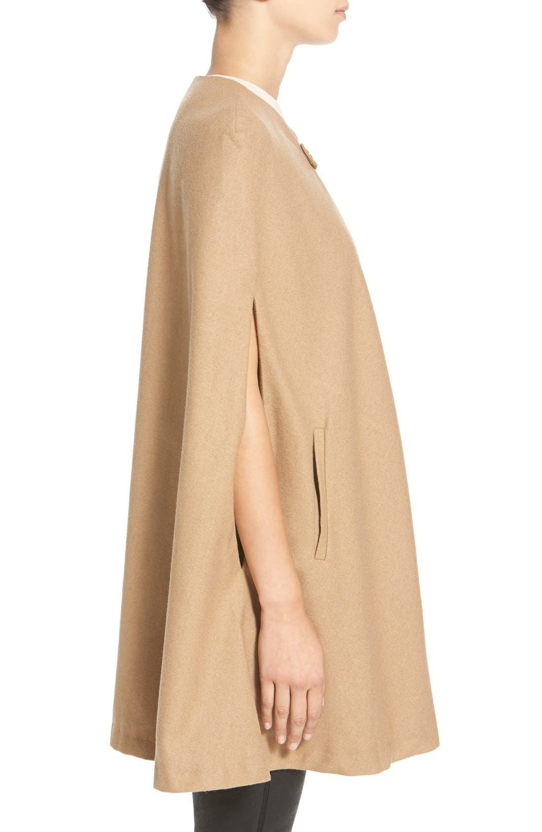 Collarless Woven Cape,                             Alternate thumbnail 3, color,                             Beige