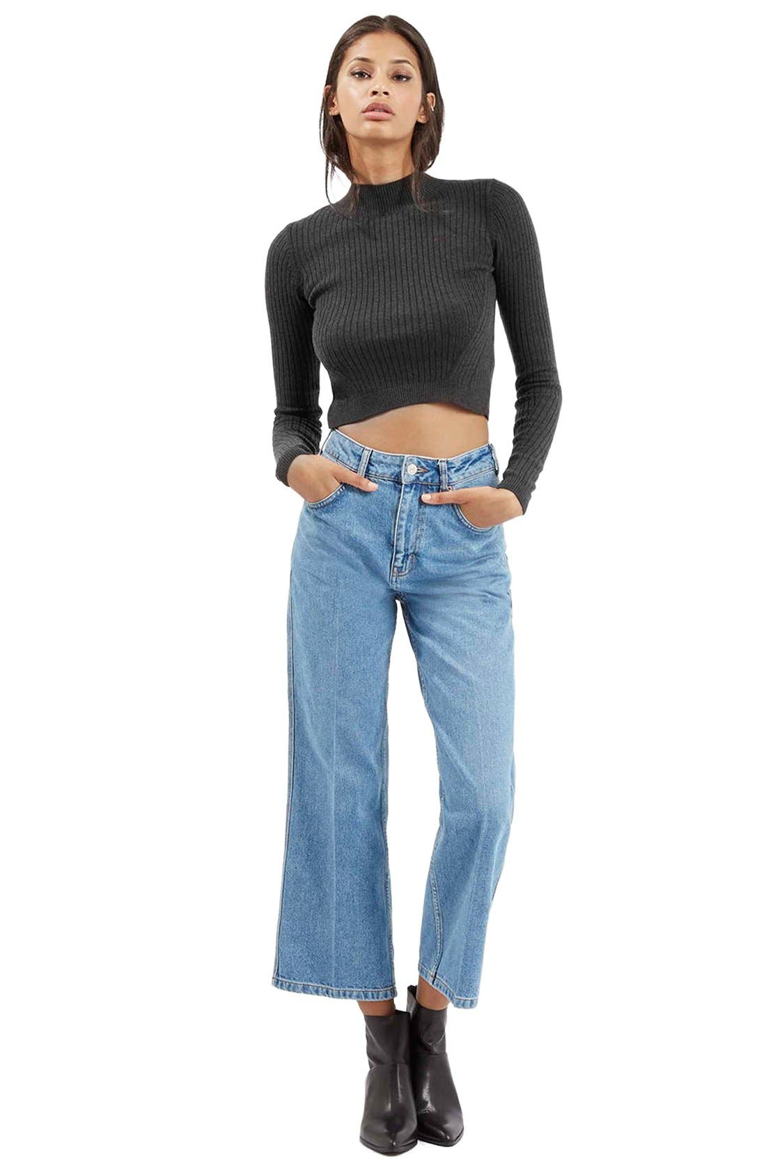 Alternate Image 2  - Topshop Ribbed Long Sleeve Crop Top