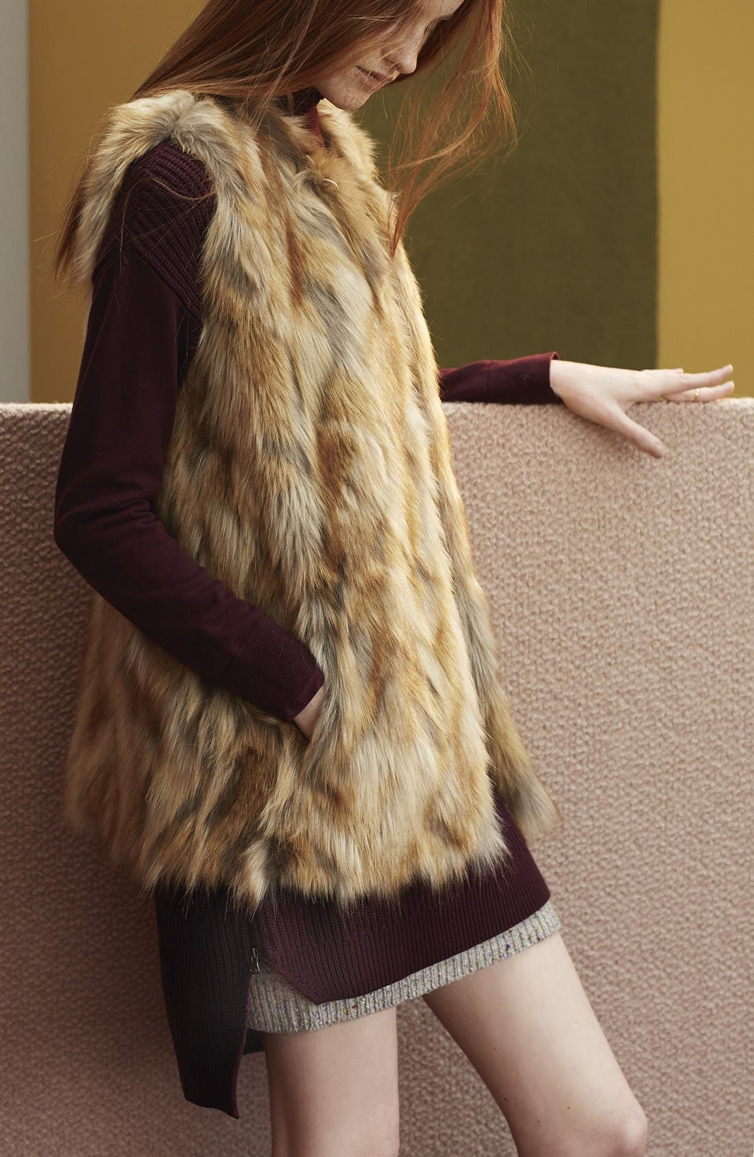 Alternate Image 4  - Bernardo Retro Patchwork Faux Fur Vest