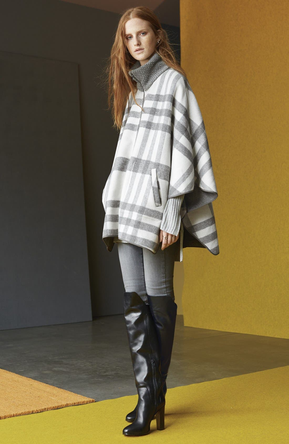 Zip Front Plaid Cape,                             Alternate thumbnail 6, color,                             Ivory/ Grey