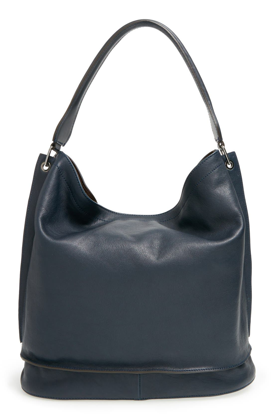 '3D' Leather Hobo,                             Alternate thumbnail 3, color,                             Midnight