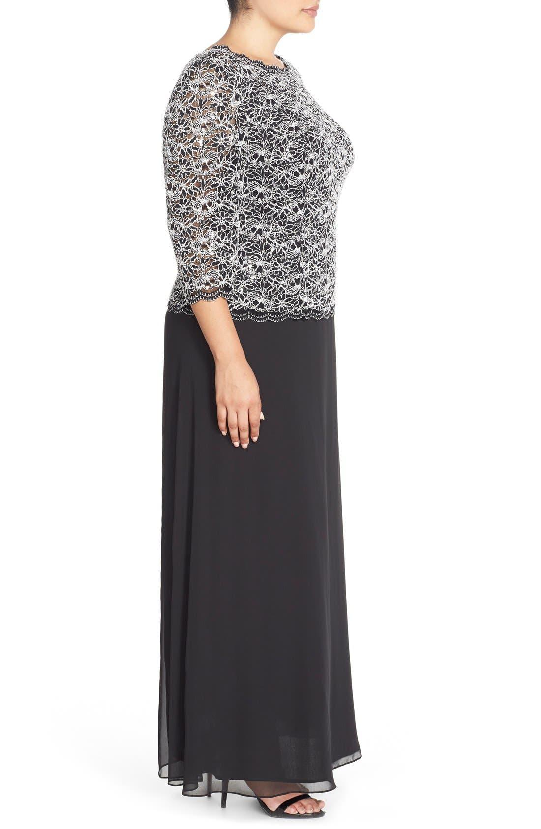 Mock Two-Piece Lace & Chiffon A-Line Gown,                             Alternate thumbnail 3, color,                             Black/ White