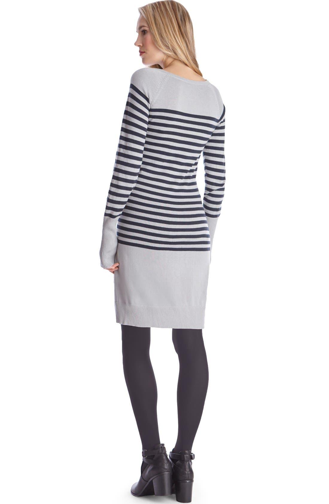 Alternate Image 2  - Seraphine'Rozalia' Stripe Maternity/Nursing Sweater Dress