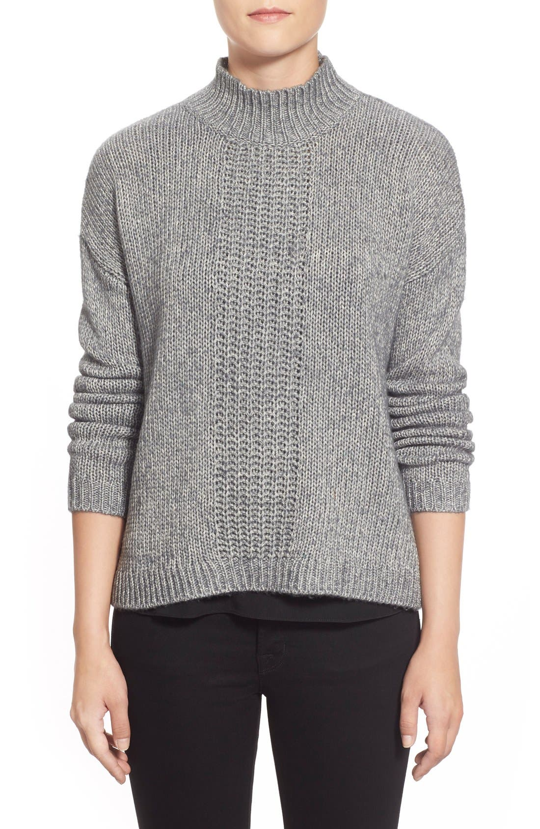 Pattern Front Mock Neck Sweater,                         Main,                         color, Charcoal Marl