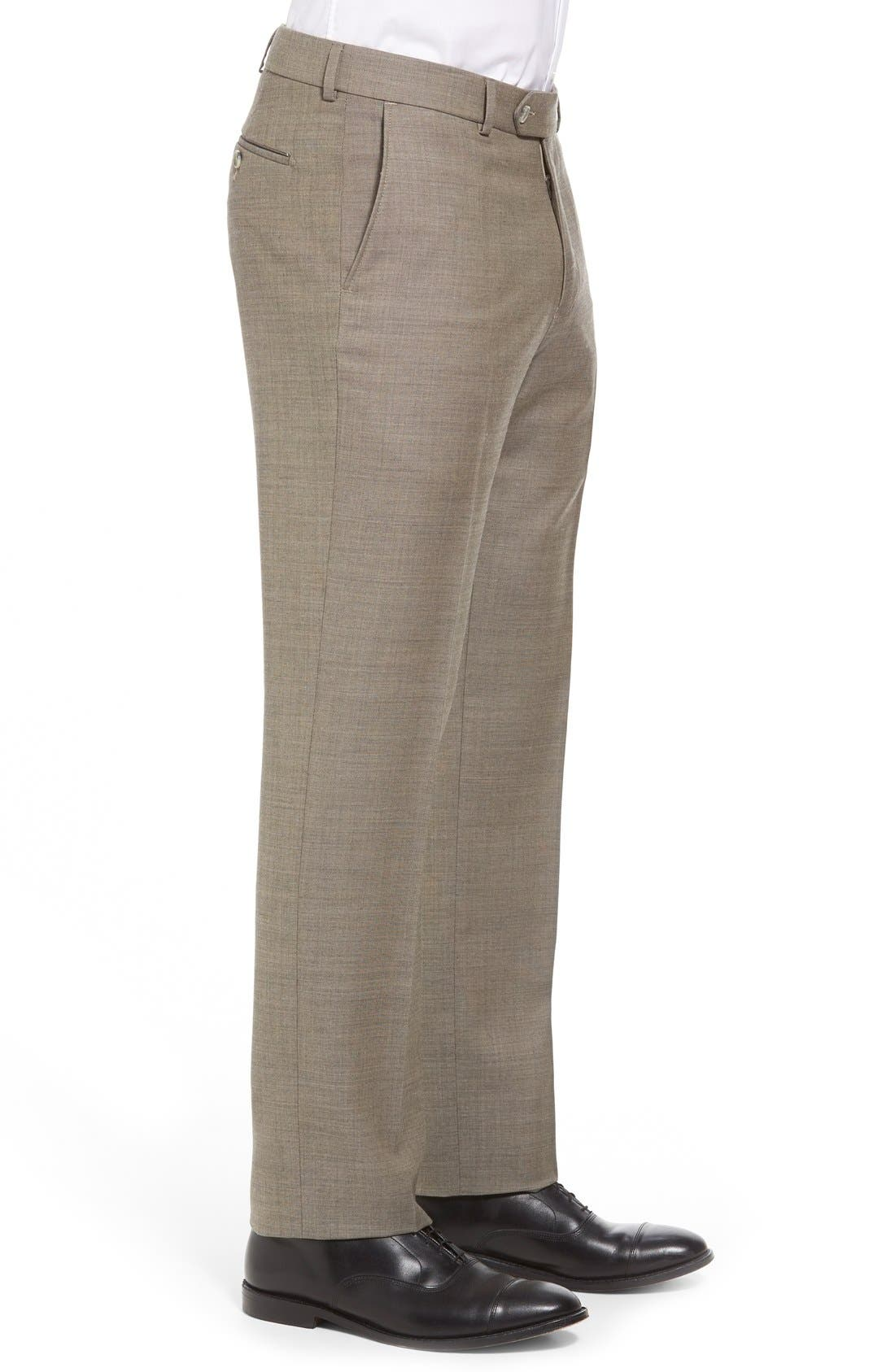 Flat Front Sharkskin Wool Trousers,                             Alternate thumbnail 4, color,                             British Tan
