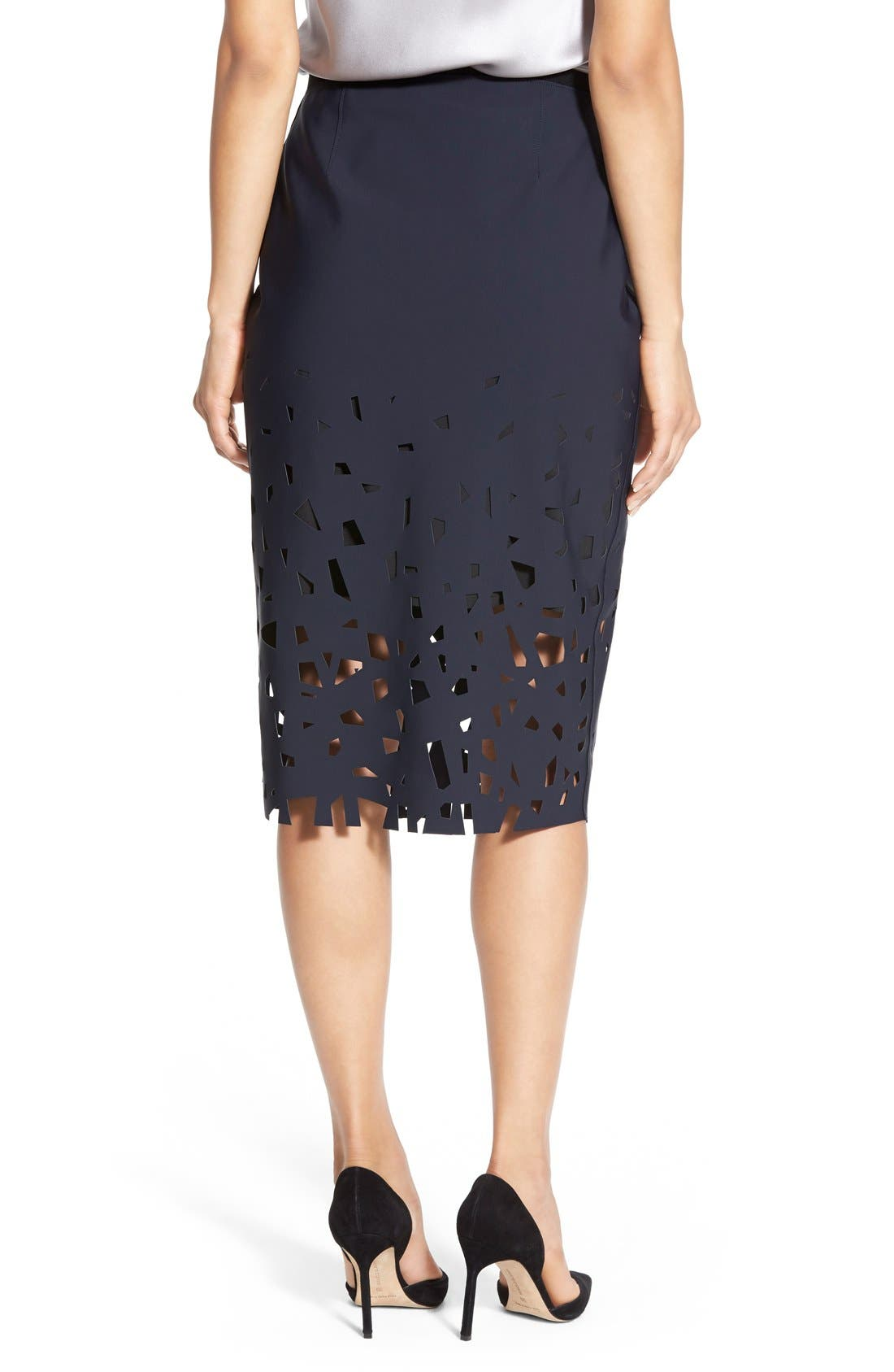 Alternate Image 2  - Elie Tahari 'Violet' Laser Cut Pencil Skirt