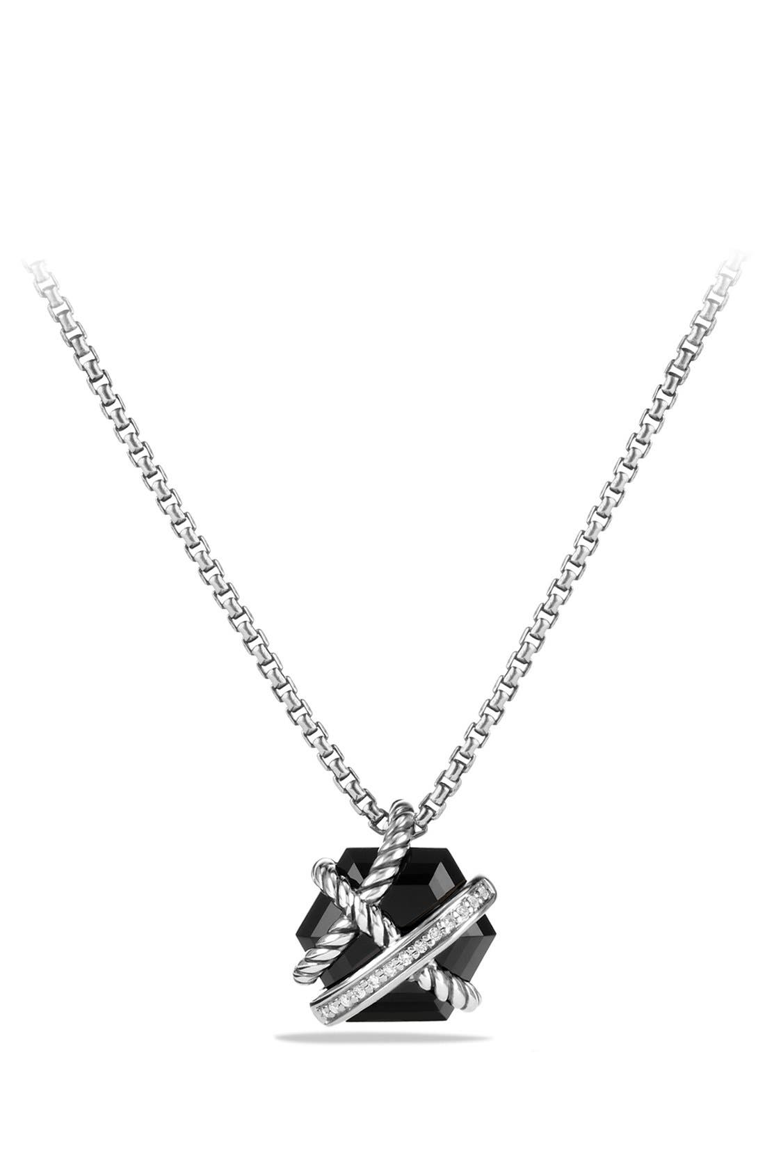 'Cable Wrap' Pendant Necklace with Diamonds,                             Main thumbnail 1, color,                             Black Onyx