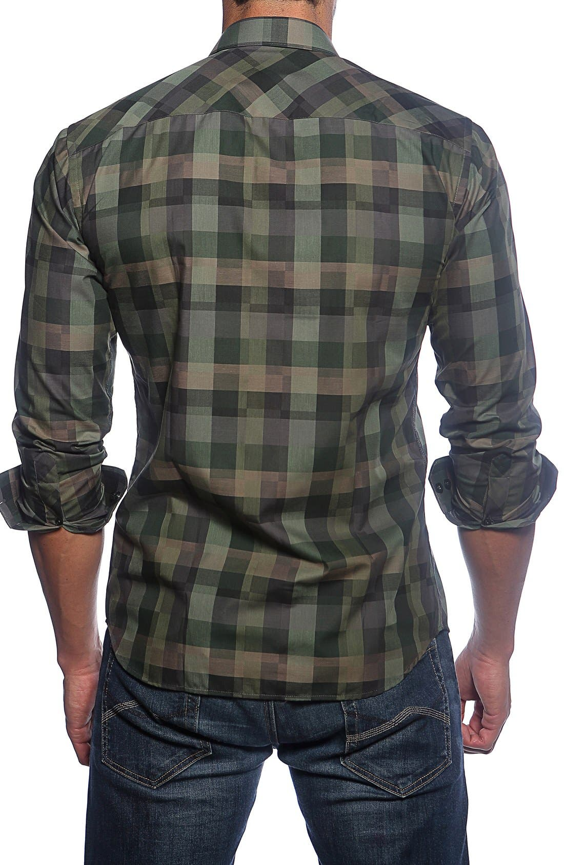Trim Fit Check Sport Shirt,                             Alternate thumbnail 2, color,                             Green Camo