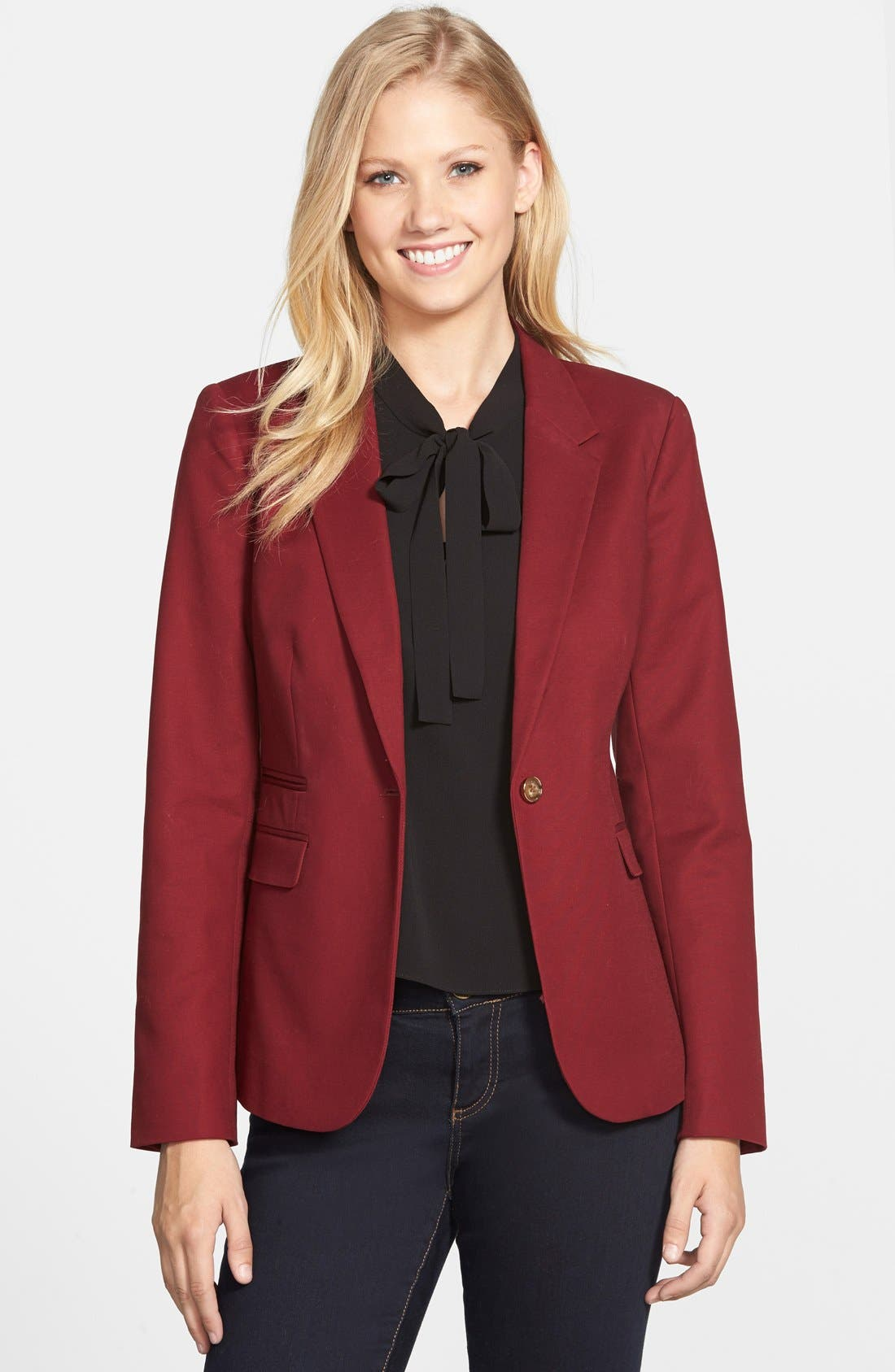 Main Image - Vince Camuto Stretch Cotton One-Button Blazer