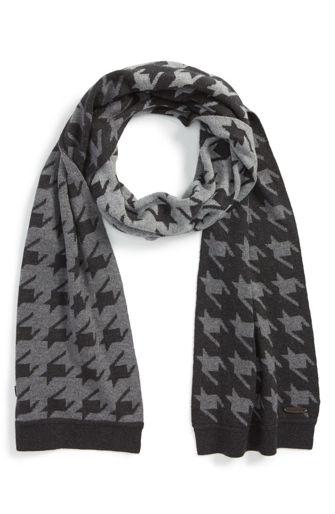'Twenton' HoundstoothScarf,                         Main,                         color, Charcoal