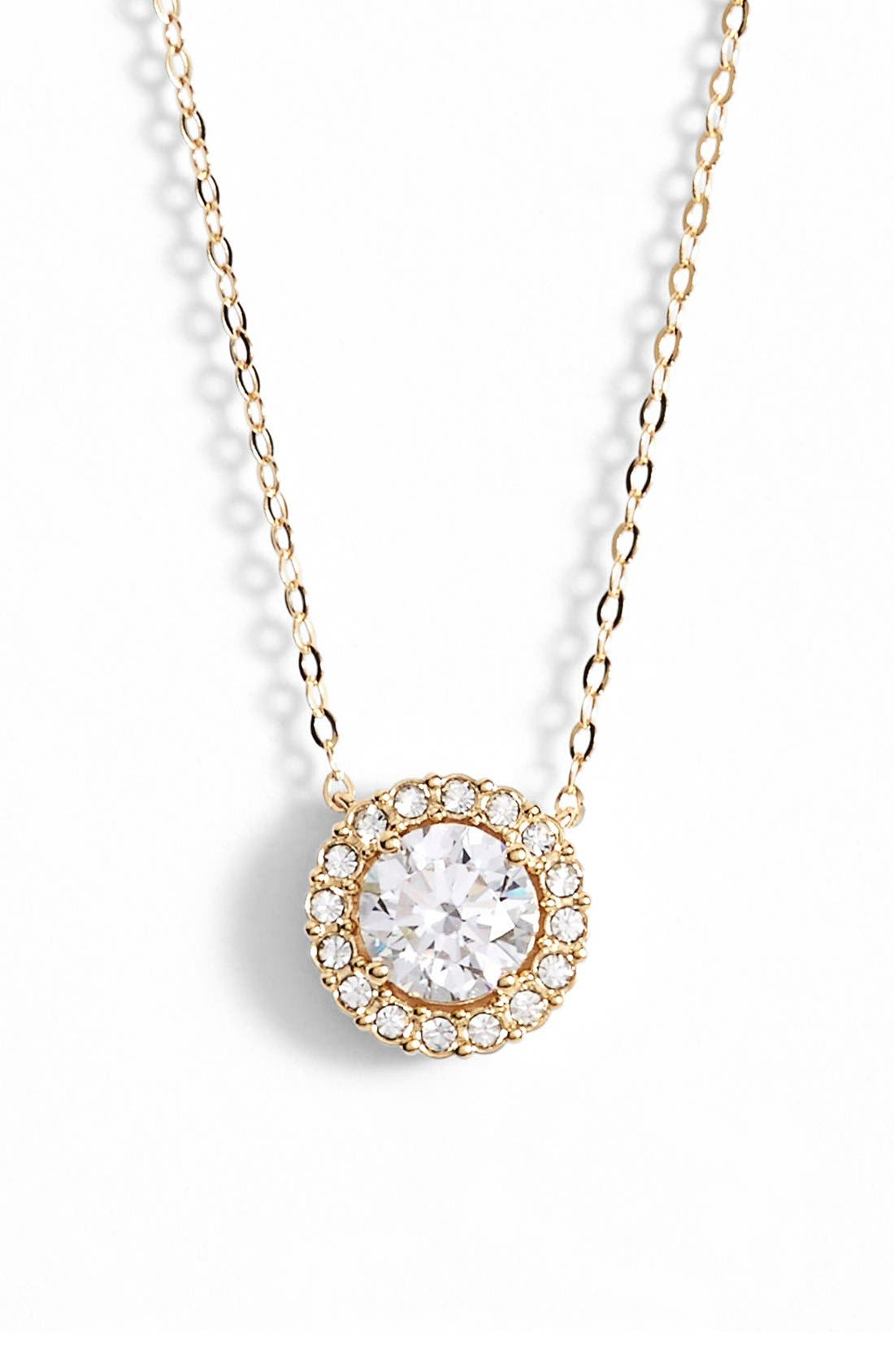 Halo Pendant Necklace,                         Main,                         color, Gold