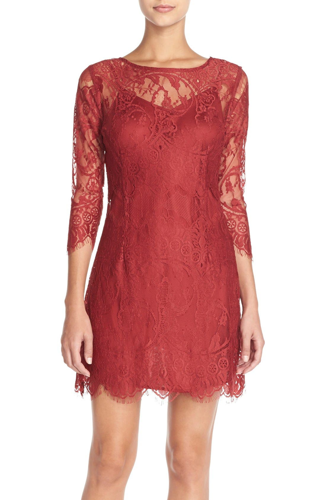 'Natalia' Lace Sheath Dress,                             Main thumbnail 1, color,                             Bordeaux