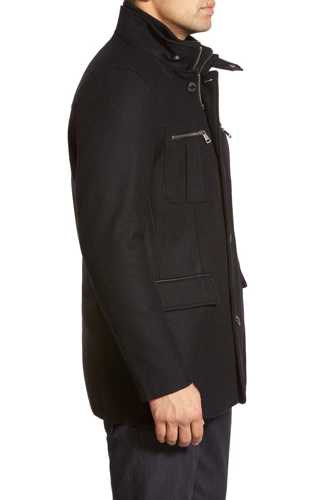 Wool Blend Jacket,                             Alternate thumbnail 5, color,                             Black