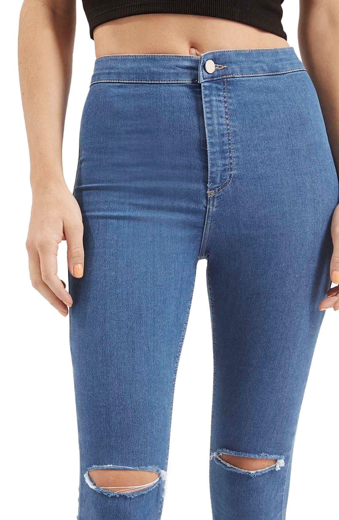 Alternate Image 4  - Topshop 'Joni' RippedHigh Rise Skinny Jeans (Petite)