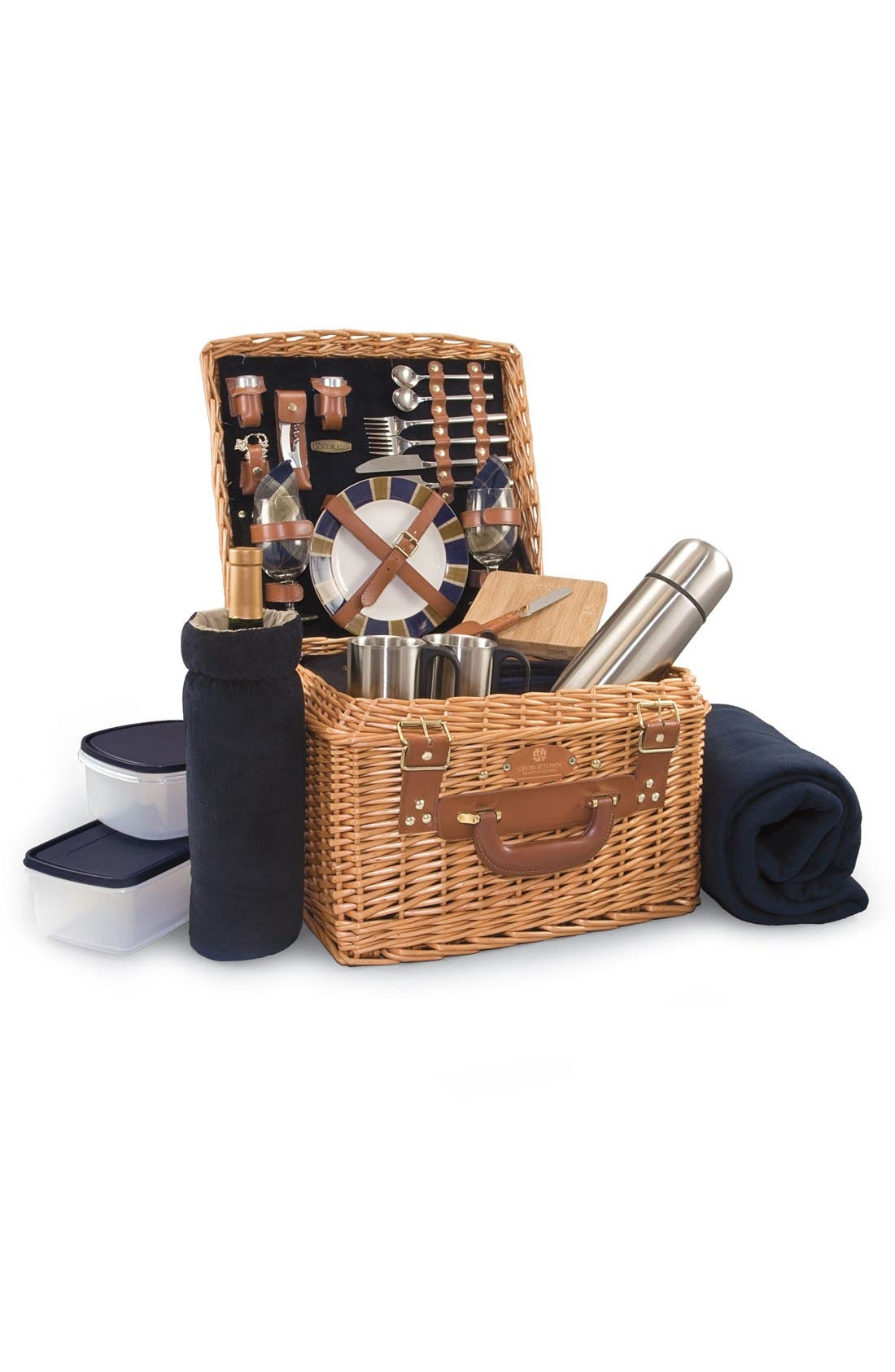 'Canterbury' Wicker Picnic Basket,                         Main,                         color, Blue