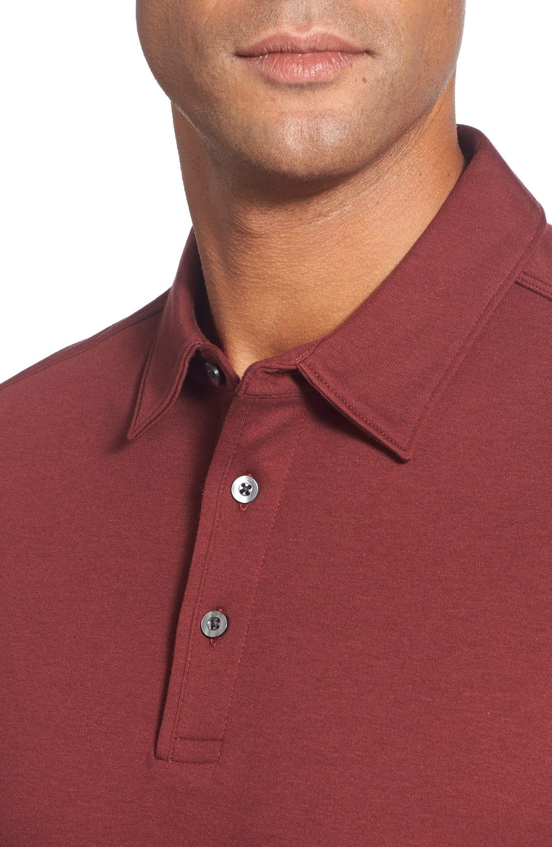 'Belfair' Pima Cotton Polo,                             Alternate thumbnail 4, color,                             Sleigh