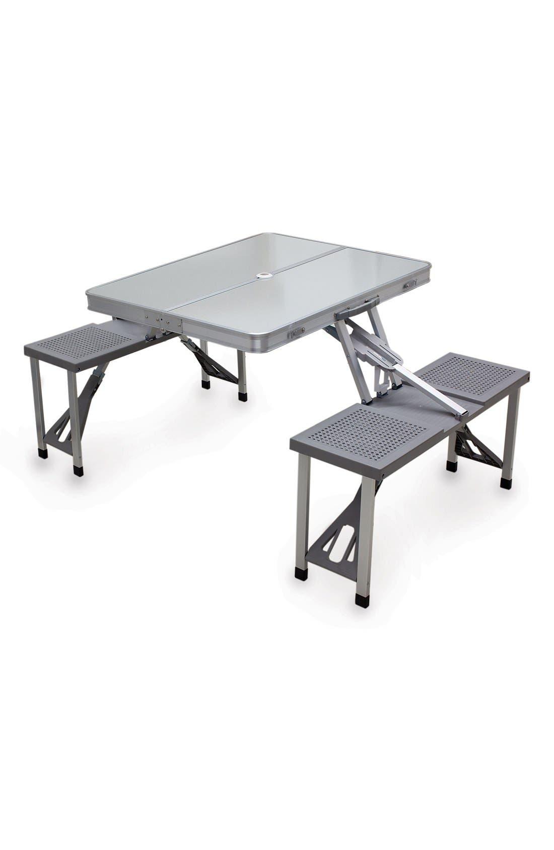 Fold-Up Aluminum Picnic Table,                         Main,                         color, Gray