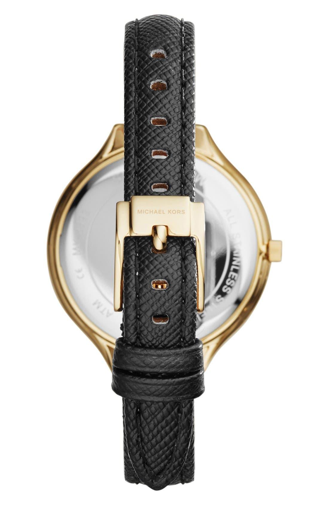 Alternate Image 2  - MICHAEL Michael Kors'Slim Runway' Leather Strap Watch,42mm