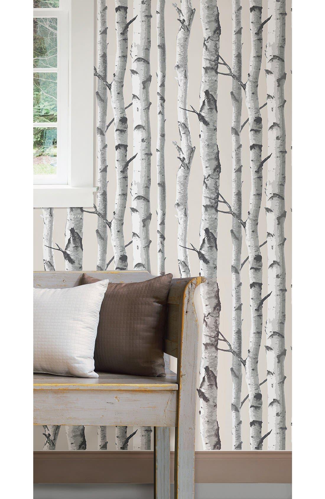 'Birch Tree'  Peel & Stick Vinyl Wallpaper,                             Alternate thumbnail 2, color,                             White