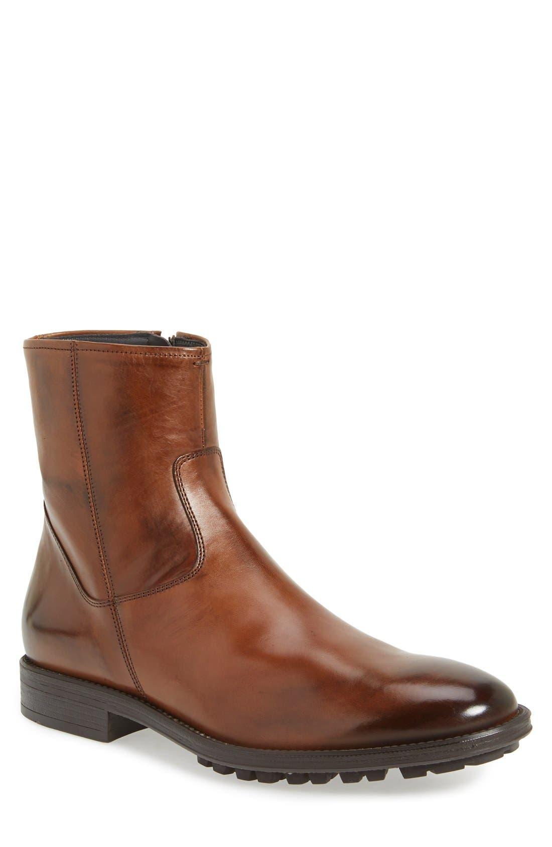 'Harrison' Zip Boot,                         Main,                         color, Brandy