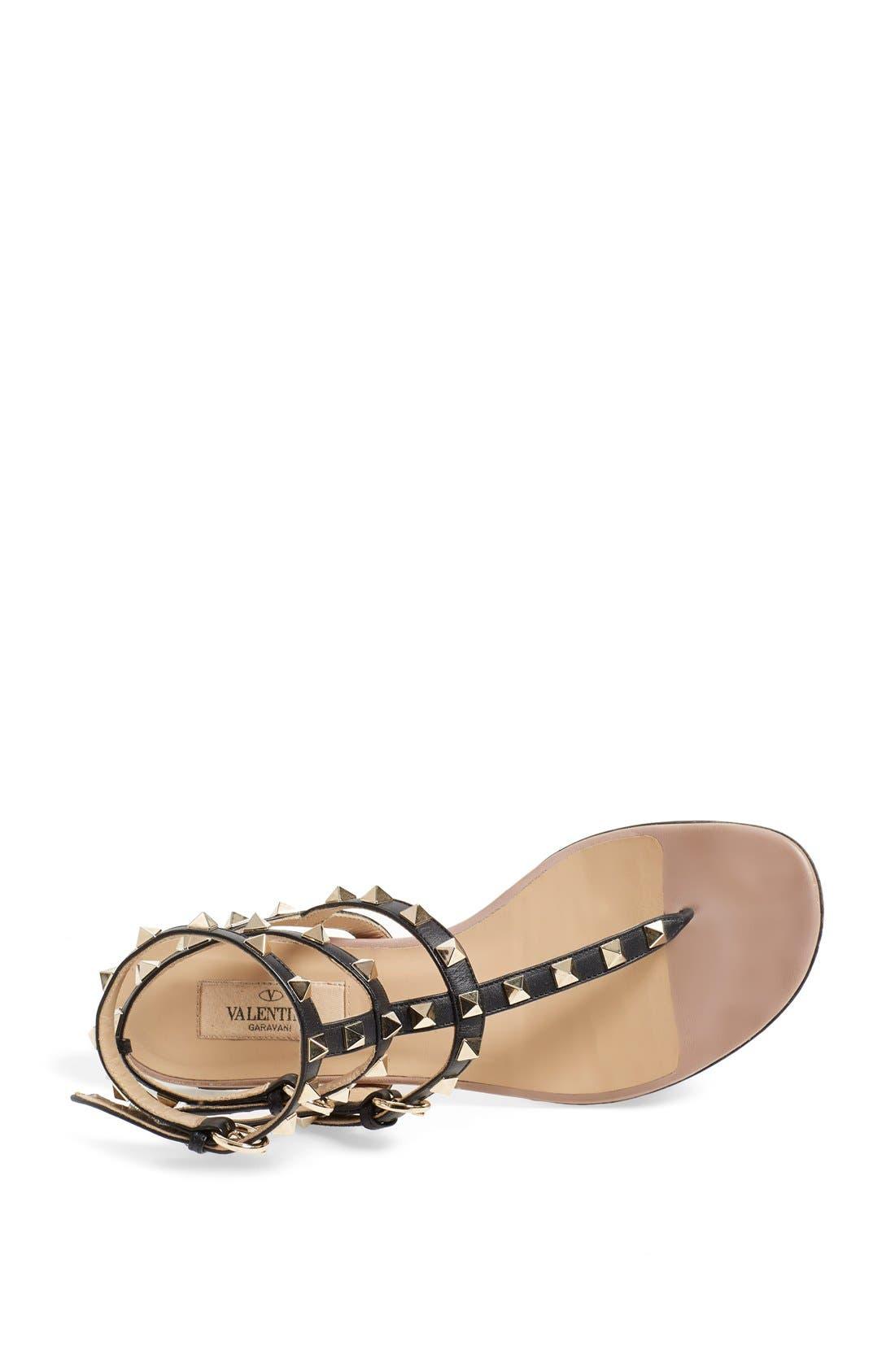 'Rockstud' Sandal,                             Alternate thumbnail 3, color,                             Black Leather