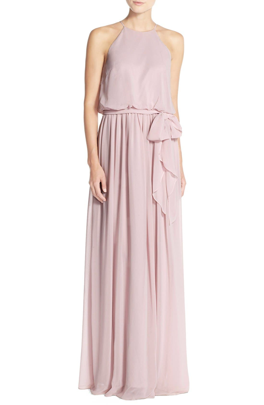 Alternate Image 1 Selected - Donna Morgan 'Alana' Chiffon Halter Style Gown