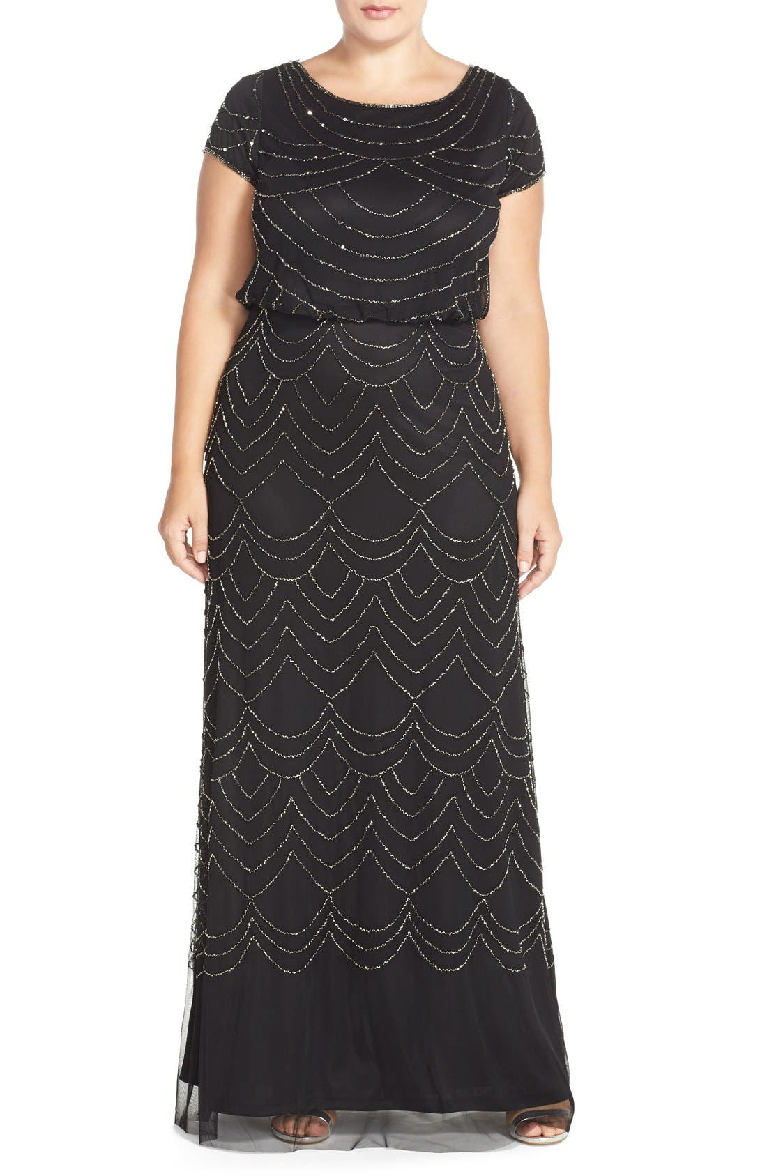 Beaded Blouson Gown,                         Main,                         color, Black