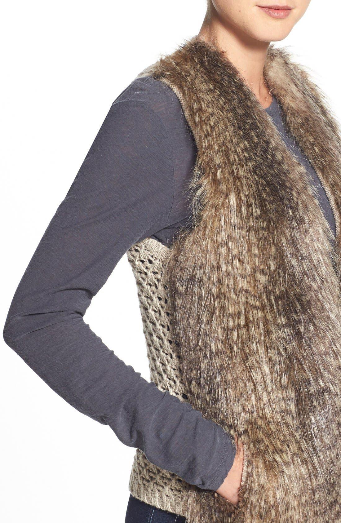 Alternate Image 4  - Ella Moss 'Lyla' Faux Fur Knit Back Vest