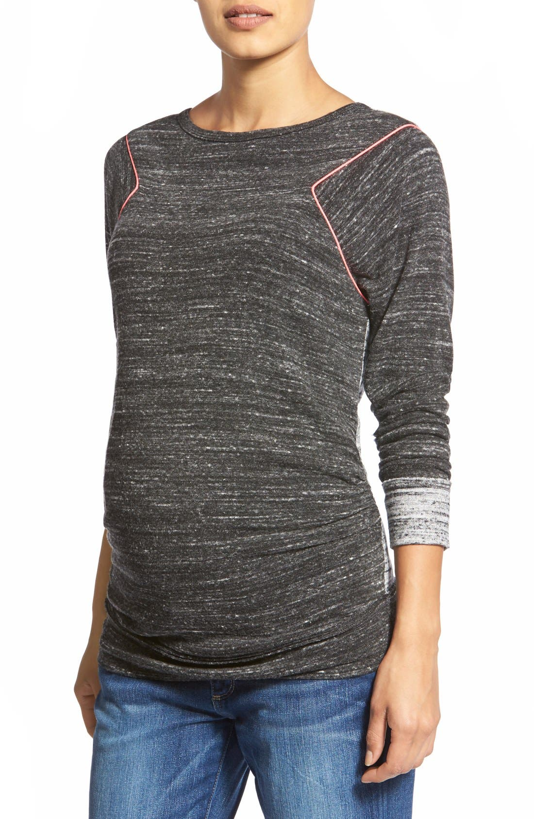 'Raelani' Stretch Jersey Maternity Top,                             Main thumbnail 1, color,                             Heather/ Charcoal