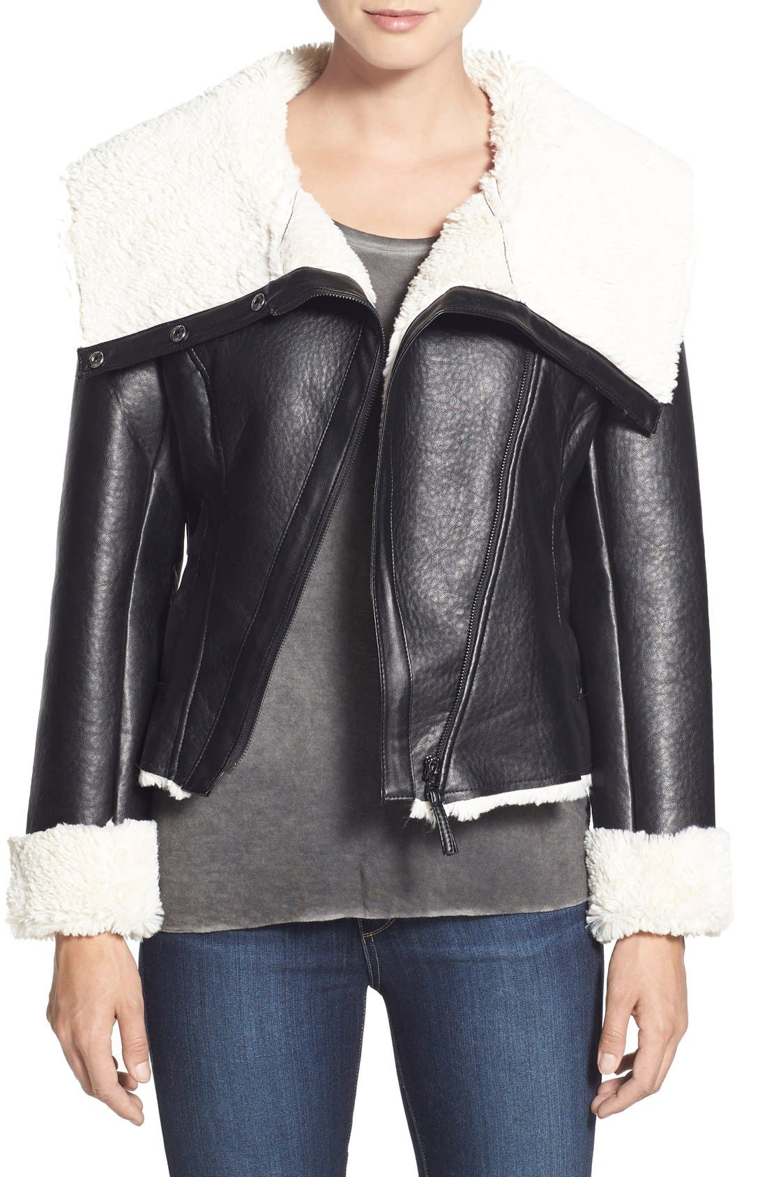 Alternate Image 1 Selected - Steve Madden Faux Shearling Crop Moto Jacket