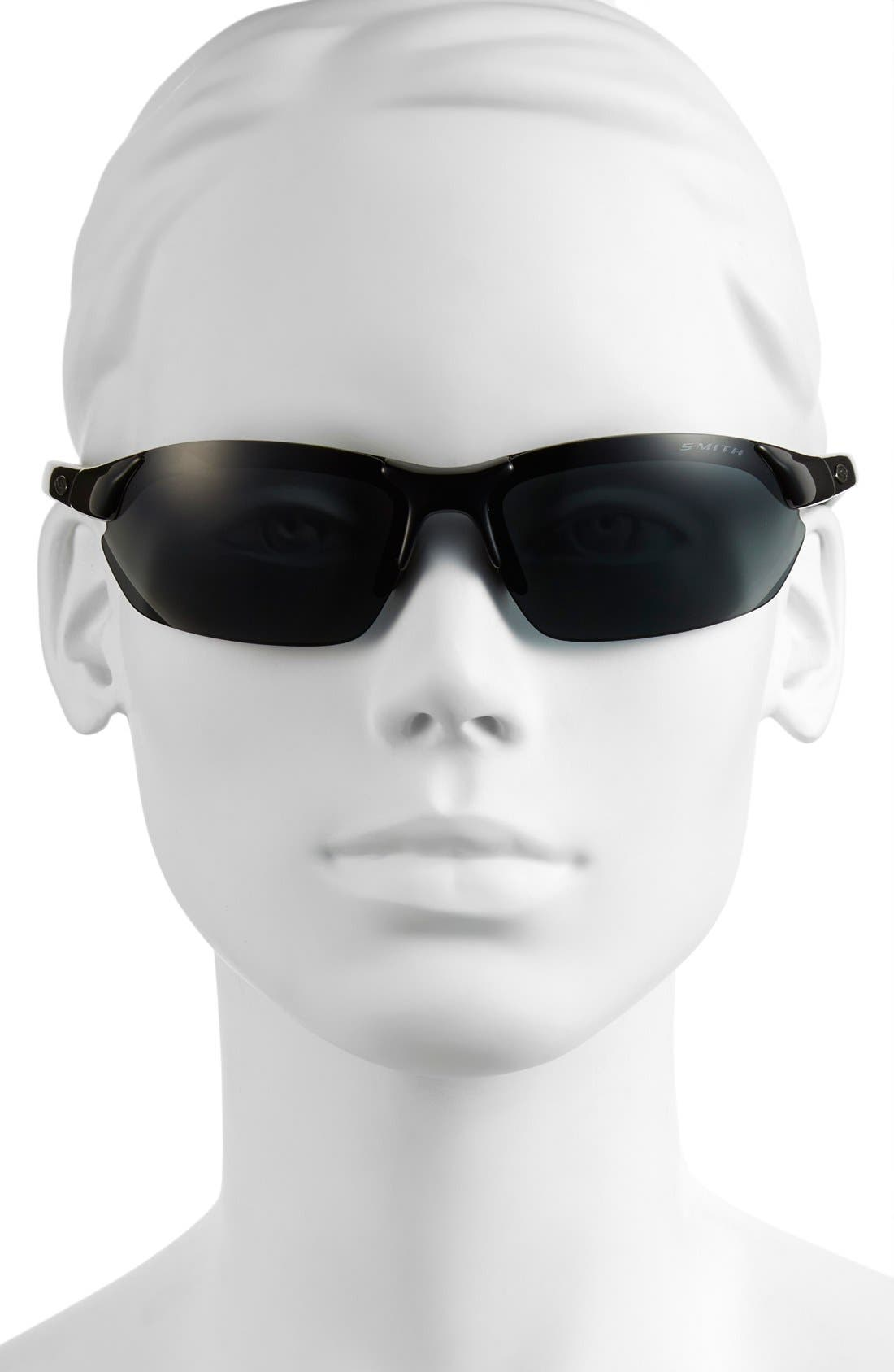 'Parallel Max' 65mm Polarized Sunglasses,                             Alternate thumbnail 5, color,                             Black/ Polar Grey/ Clear