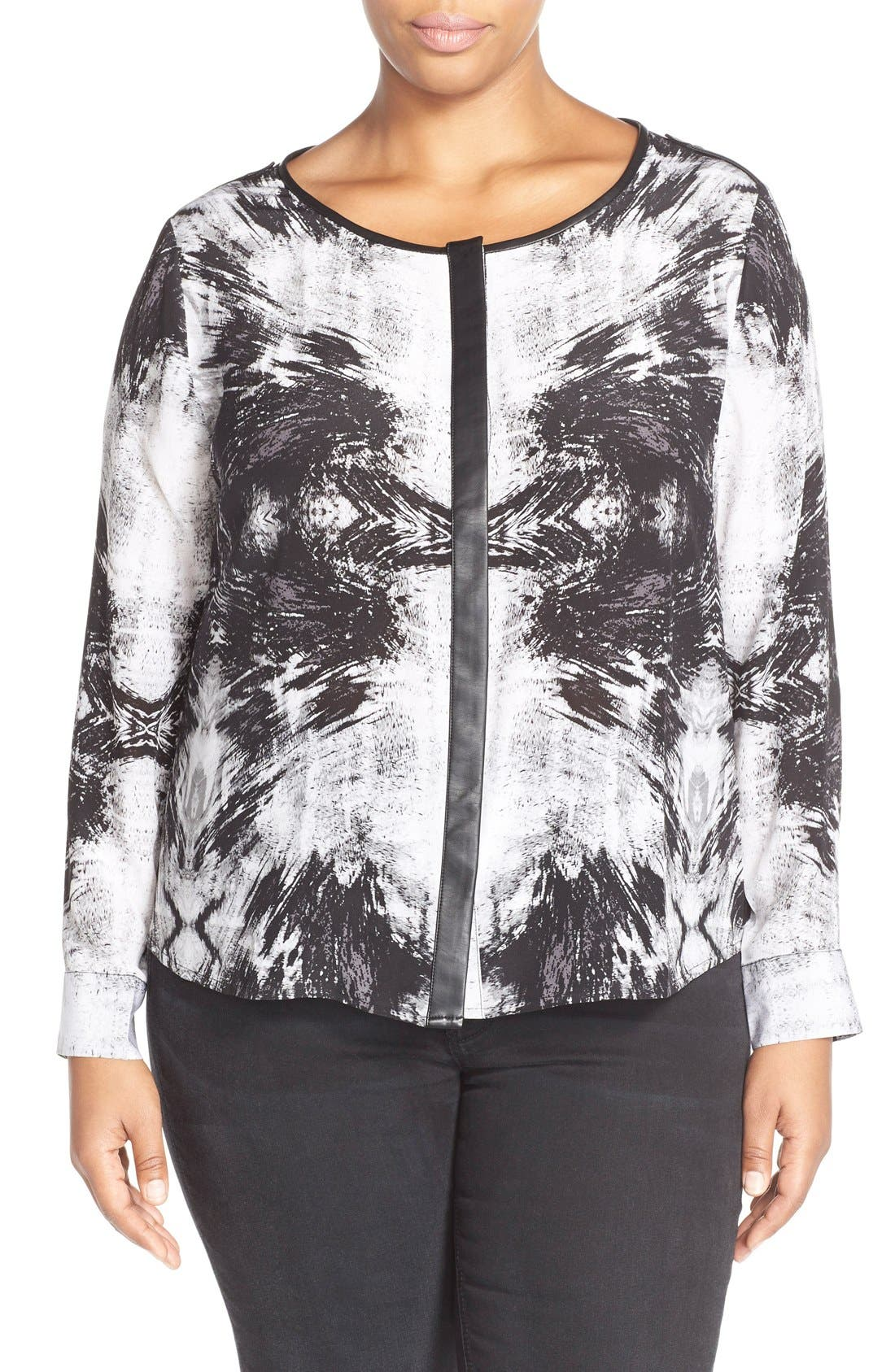 Tart 'Krista' Mirror Print Silk Top (Plus Size)