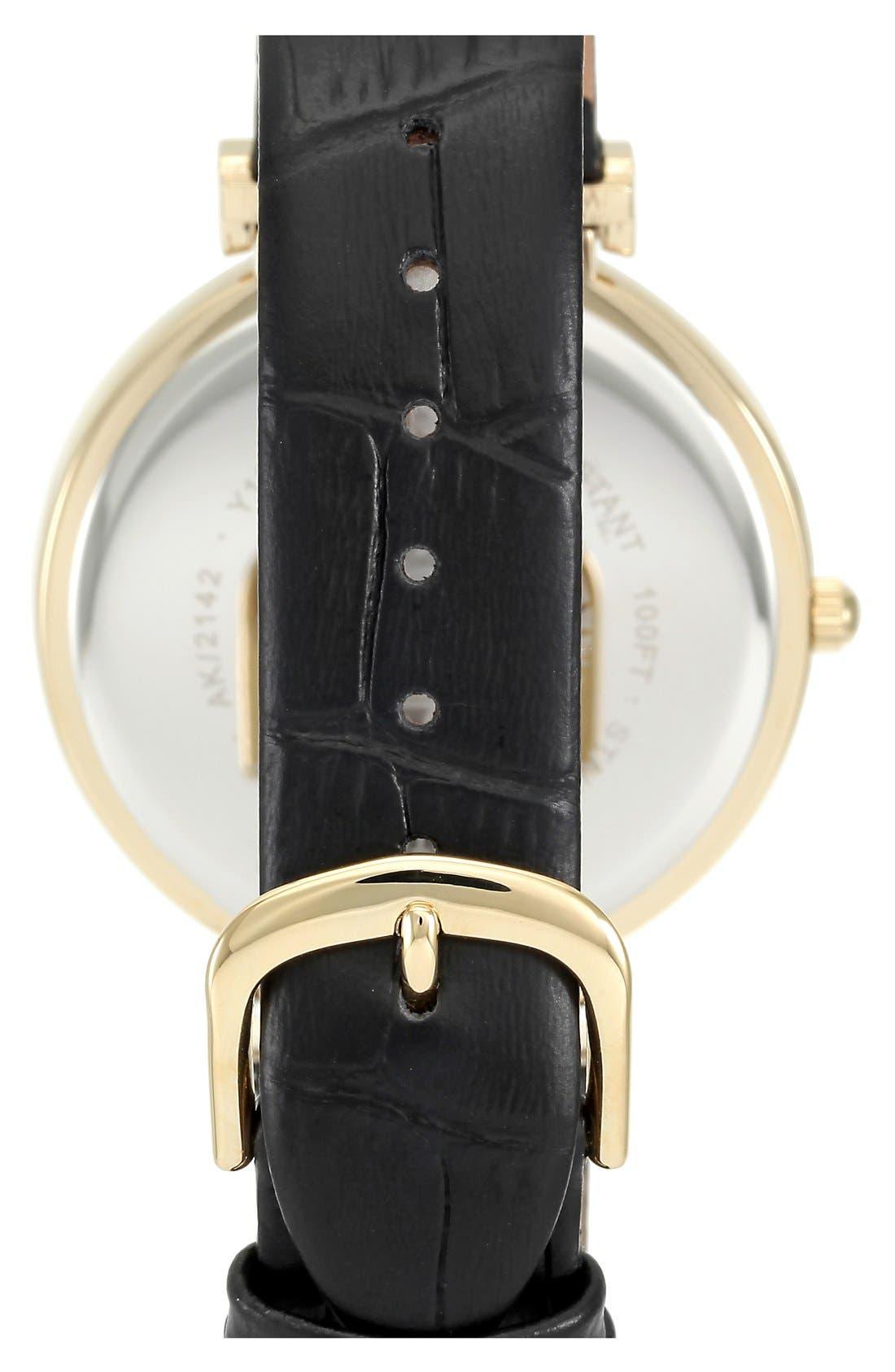 Alternate Image 2  - Anne Klein Embossed Leather Strap Watch, 42mm