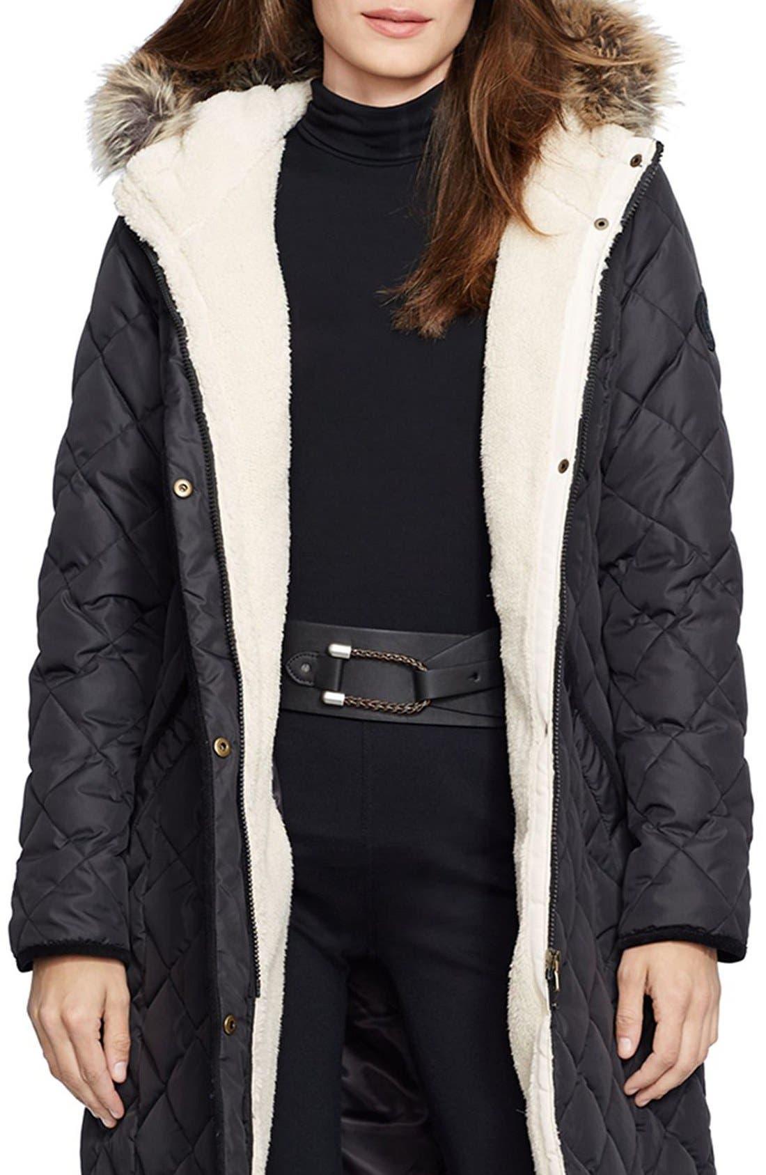 Alternate Image 1 Selected - Lauren Ralph Lauren Faux Fur Trim Down & Feather FillParka (Regular & Petite)