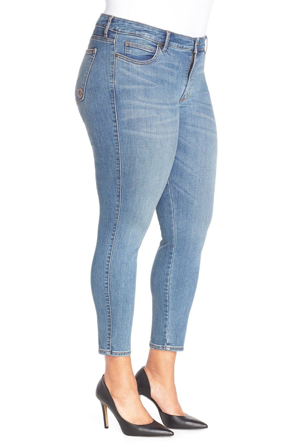 'Wisdom' Stretch Ankle Skinny Jeans,                             Alternate thumbnail 3, color,                             Edna