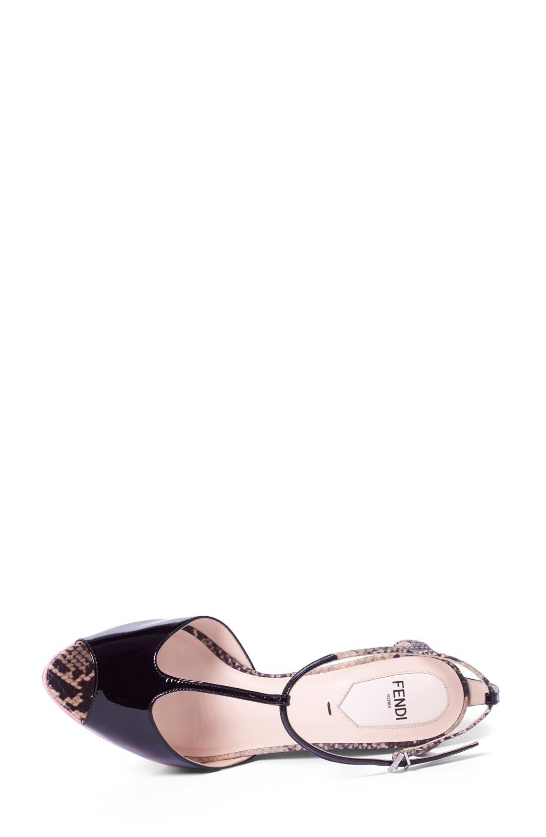 'Elodie' T-Strap Wedge Sandal,                             Alternate thumbnail 3, color,                             Black/ Pink Patent