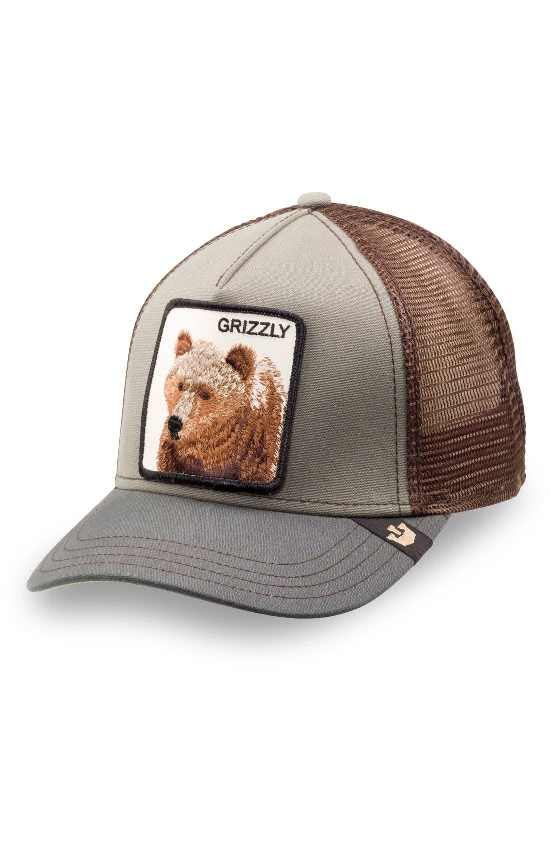 'Animal Farm - Grizz' Mesh Trucker Hat,                             Main thumbnail 1, color,                             Olive