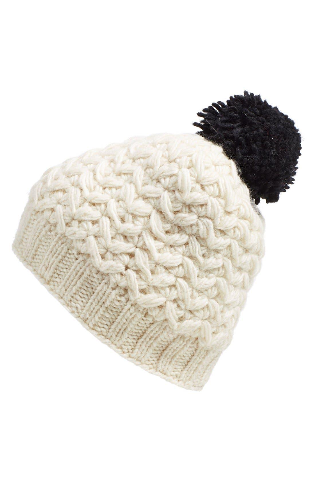 'Black Pom' Knit Beanie,                         Main,                         color, White