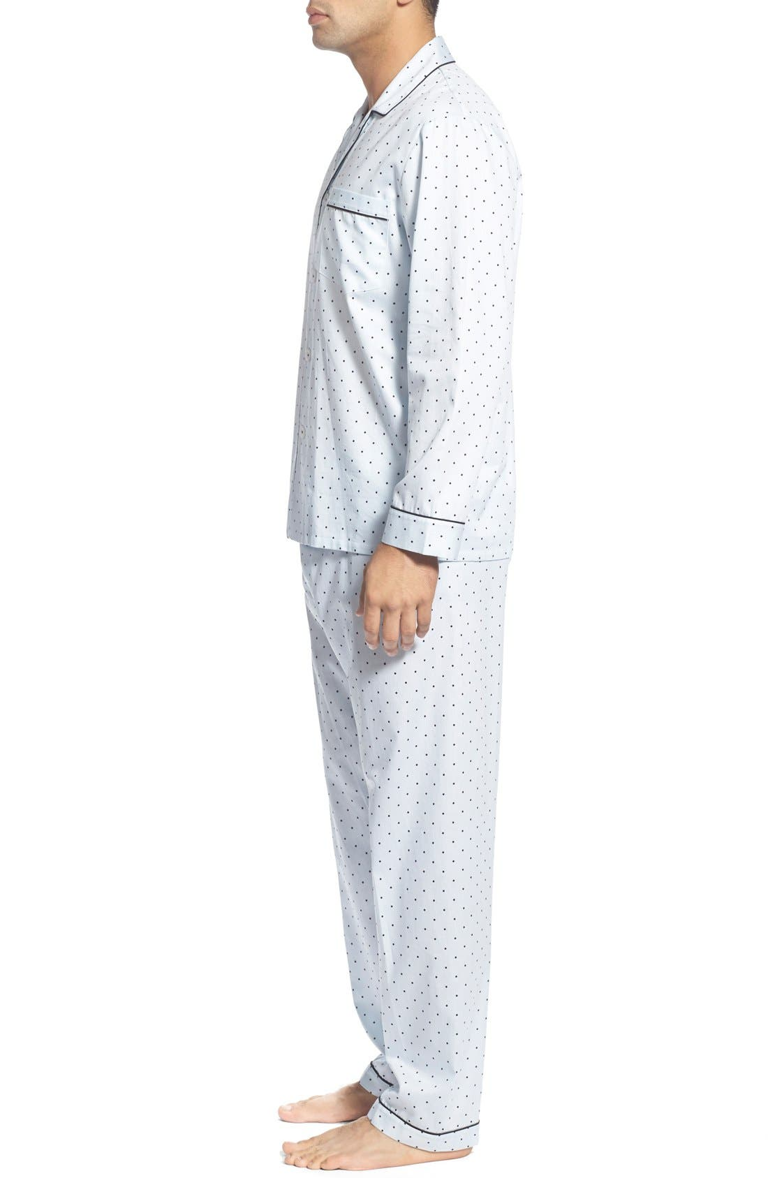 'Twilight' Cotton Pajamas,                             Alternate thumbnail 3, color,                             Navy Dots