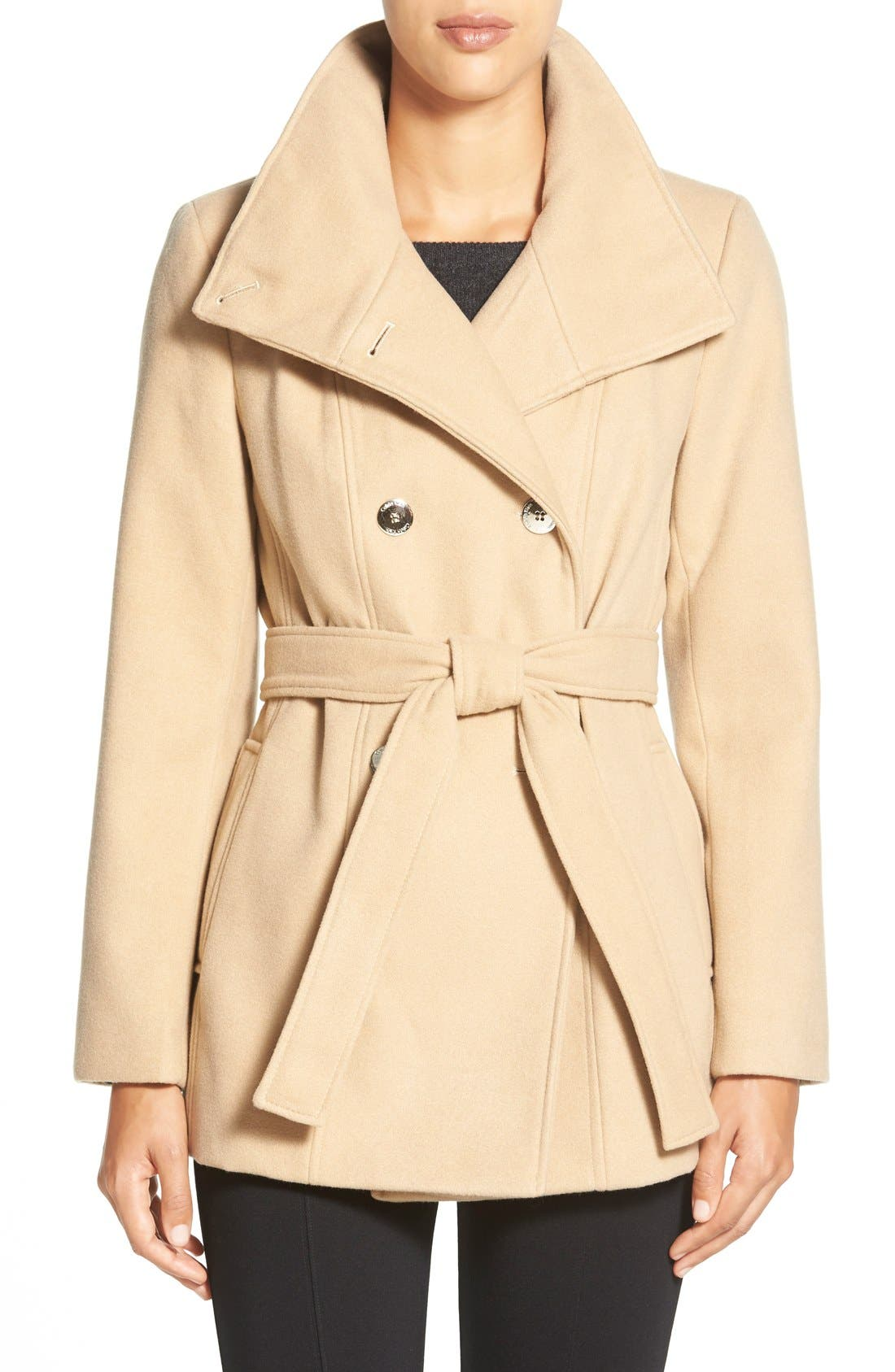 Main Image - Calvin Klein Belted Double Breasted Coat (Petite)