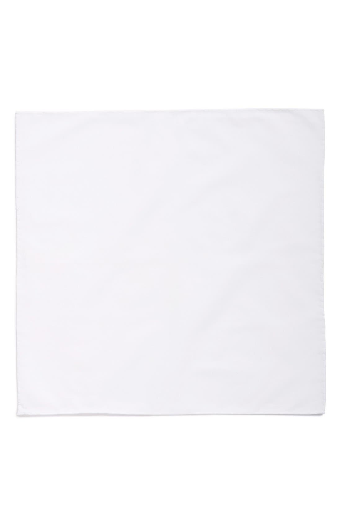 Solid Cotton Pocket Square,                             Alternate thumbnail 2, color,                             White