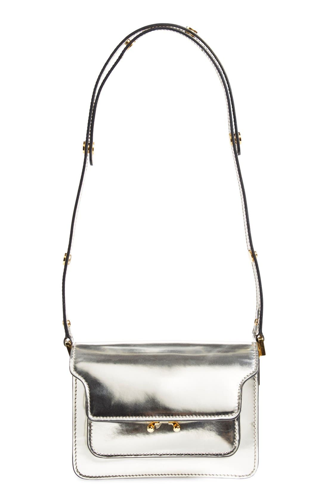 Main Image - Marni 'Mini Trunk' Metallic Leather Shoulder Bag