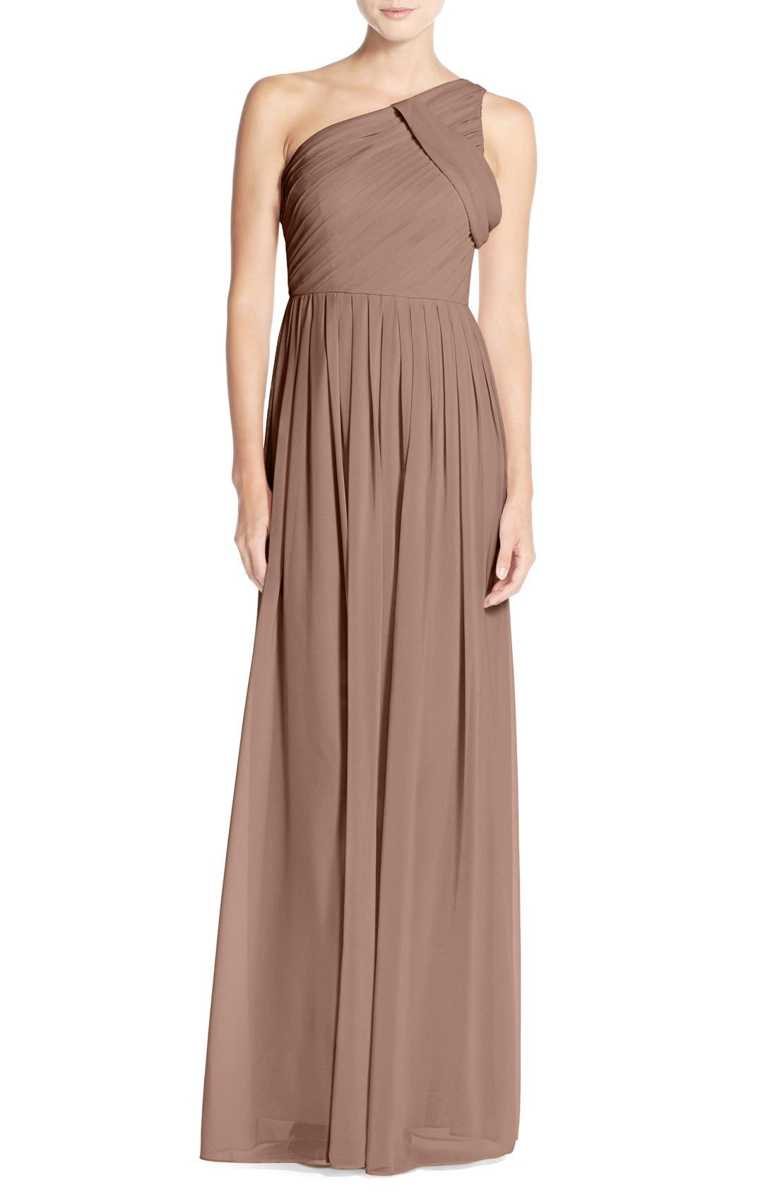 'Chloe' One-Shoulder Pleat Chiffon Gown,                             Main thumbnail 1, color,                             Hibiscus Tea