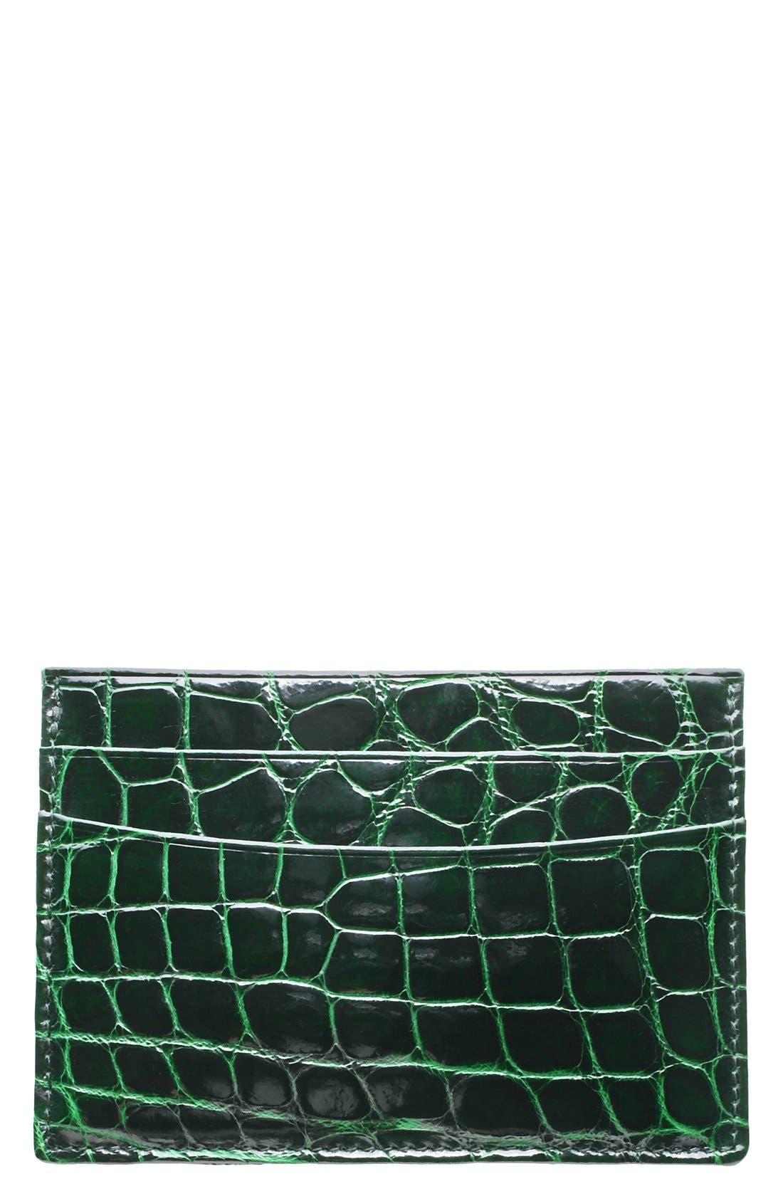 Alternate Image 1 Selected - Trafalgar Genuine Alligator Leather Card Case