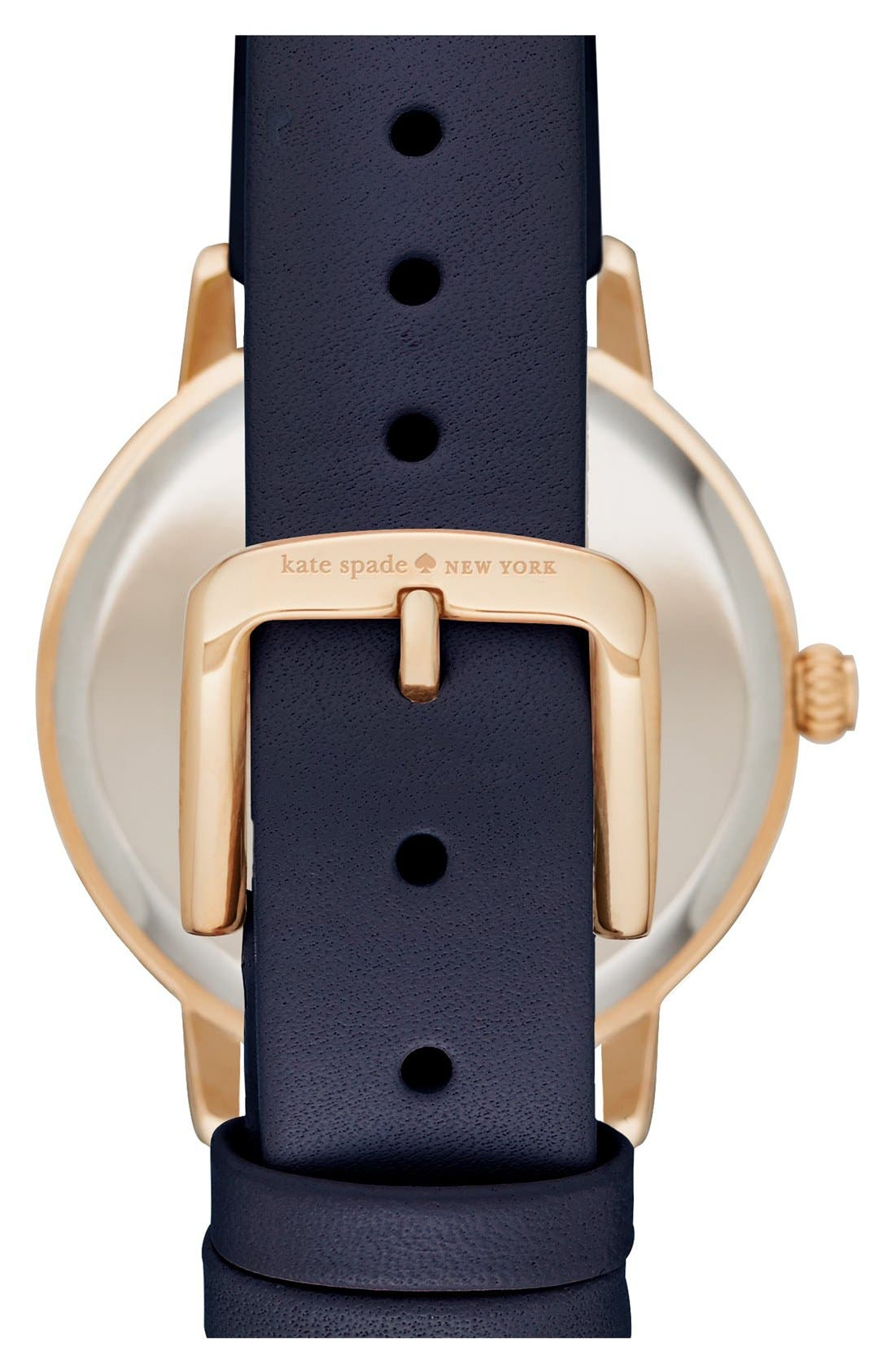 Alternate Image 2  - kate spade new york 'metro' mother-of-pearl leather strap watch, 34mm